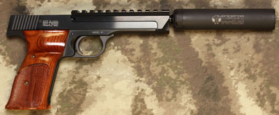 S&W Model 41 with Threaded Barrel and Silencerco Sparrow Silencer