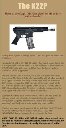 Olympic Arms K22P