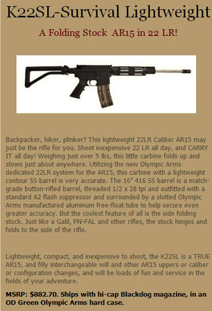 Olympic Arms K22SL-Survival Lightweight